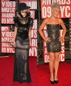 Lady Gaga and Pink at the 2009 VMAs (Photo source: MTV)